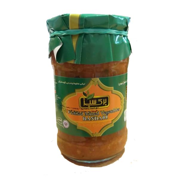 ترشی لیته بندری با گوجه فرنگی شیشه ای 680 گرم برگ سبز