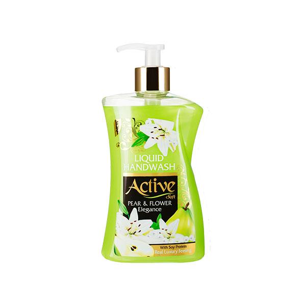 مایع دستشویی سبز 450 گرمی اکتیو حاوی پروتئین سویا