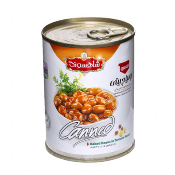 کنسرو لوبیا چیتی با سس گوجه فرنگی شاهسوند 370 گرمی