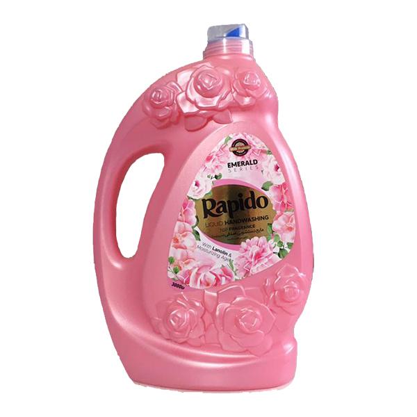 مایع دستشویی صدفی سری زمرد معطر صورتی راپیدو (3 لیتری)