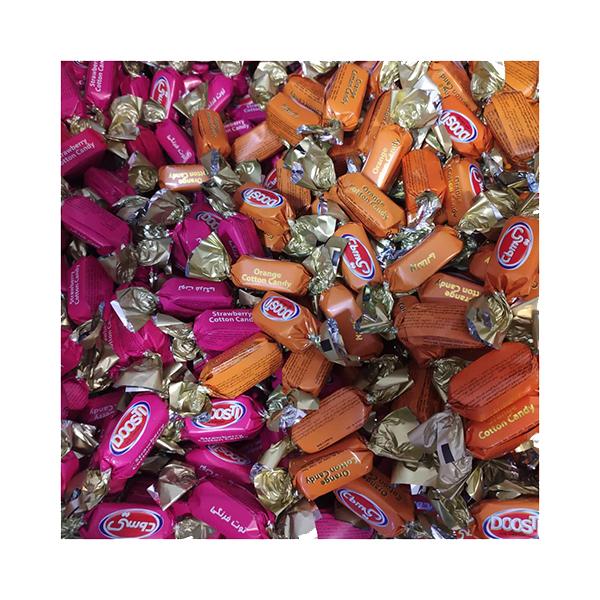 شکلات پشمکی میوه ای (پرتقالی و توت فرنگی) دوستی 500 گرم (نیم کیلویی)