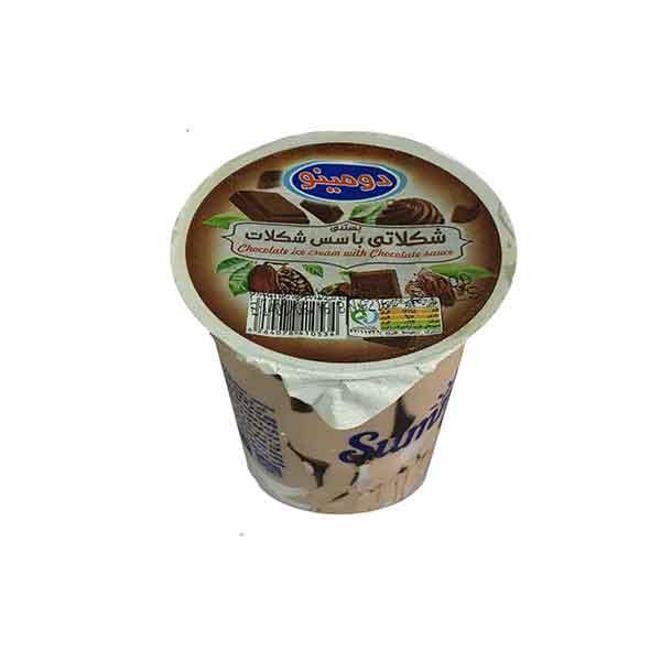 بستنی لیوانی با سس شکلات دومینو