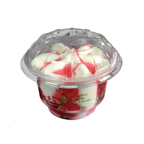 بستنی لیوانی پاک با طعم توت فرنگی و وانیل